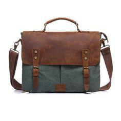 Vintage Canvas Genuine Leather Crossbody Bag Messenger Bag
