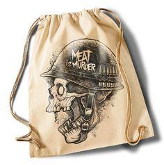 """""""Meat+is+Murder""""++Cotton+Gymsack/Turnbeutel+von+MAD+IN+BERLIN+auf+DaWanda.com"""