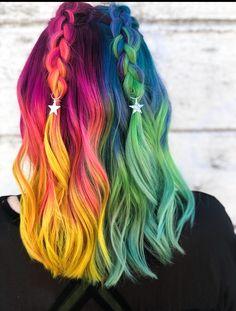 Pulp riot, two toned hair, color melt, braided hair, festival hair, rainbow hair, mermaid hair, unicorn hair, fashion color, vivid hair color, street hair color, neon hair