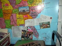 Postcard exchange displayed on map. Take this classroom tour for more decoration tips and organization ideas.