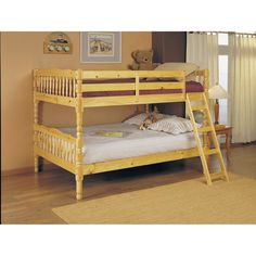 Full Over Full Bunk Bed with Ladder in Natural Light Wood Finish - Hearts Attic