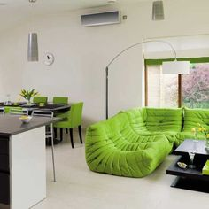 retro lime green couch with lime green chairs. LOVE IT
