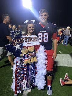 Jordan Redfearn & Justice (Sophomore year) Cutest Big Huge Texas shaped homecoming mum & garter AUBREY HS
