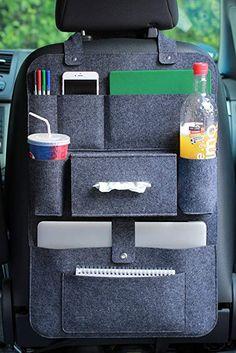 LuckySign Car Back Seat Organizer with Multi Pocket Felt, 62 x - Dark Gray Backseat Car Organizer, Car Seat Organizer, Vw California T6, Rideaux Design, Girly Car, Cute Car Accessories, Car Gadgets, Car Storage, Cute Cars