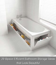 29 Space-Efficient Bathroom Storage Ideas that Look Beautiful {176} #hidden #storage #ideas #hiddenstorageideas If your bathroom is small and look messy because you don't have the place to store things, you'll need to see these 29 bathroom storage ideas. Small Bathroom With Tub, Small Bathroom Storage, Small Bathrooms, Bathtub Storage, White Bathrooms, Luxury Bathrooms, Master Bathrooms, Dream Bathrooms, Contemporary Bathrooms