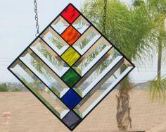 LGBT Rainbow Stained GlassBeveled Glass Geometric by dreamworkspb Stained Glass Suncatchers, Faux Stained Glass, Stained Glass Designs, Stained Glass Panels, Stained Glass Projects, Stained Glass Patterns, Leaded Glass, Beveled Glass, Mosaic Glass