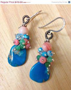 30 Off Turquoise Slice Earrings Gem By Doolittlejewelry