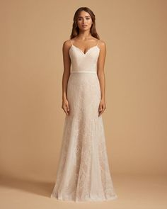 b4af989aa1a5 Style 7852 Pippin Ti Adora by Allison Webb bridal gown - Ivory / Cashmere  lace trumpet bridal gown. Sweetheart neckline with spaghetti straps and  ribbon at ...
