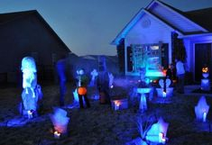 Very blurry pic showing her lit up outside. Forgot to turn her on! Halloween Forum, Halloween Graveyard, Halloween 2014, Halloween Ideas, Halloween Decorations, Yard Haunt, Haunted Mansion, Favorite Holiday, Wonderful Time