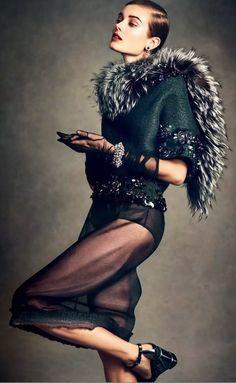 """A Look Back At Chic"" | Model: Jac Jagaciak, Photographer: Andreas Sjödin, Vogue Japan, January 2015"