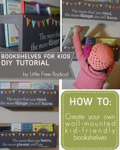 how-to: make wall mounted bookshelves for kids - fun DIY project - inspired by pinterest, featuring a Dr. Seuss Quote