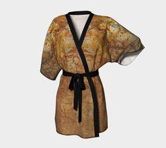 Kimono Robe, silky knit, chiffon, dramatic, elegant, artist designed, ecopoly, overlock hem, printed by hand, sewn by hand, vibrant print, #etsy