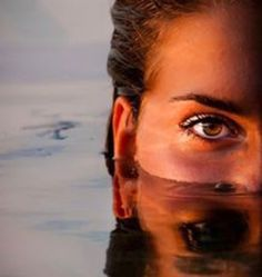 Great headshot of face submerged in water #beautiful eyes #sunset