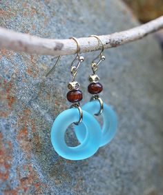 Take a look at this Blue Sea Glass & Silvertone Hoop Drop Earrings today!
