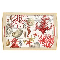 Michel Design Works - Red Coral Decoupage Wooden Tray - Red Coral - Coastal - Design Collections