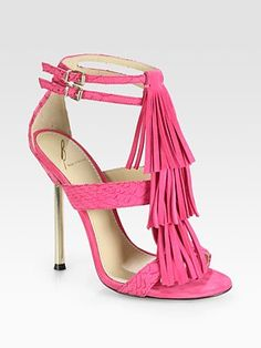 B Brian Atwood snake print and suede fringe pink sandals