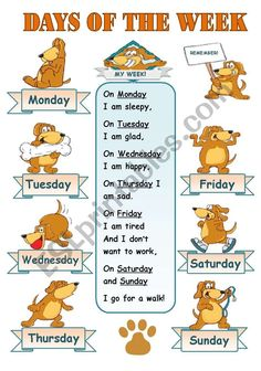 DAYS OF THE WEEK! - CLASSROOM POSTER FOR KIDS - ESL worksheet by svetamarik Svetlana English Poems For Kids, English Day, Learning English For Kids, Teaching English Grammar, English Lessons For Kids, English Story, Kids English, Learn English Words, English Vocabulary