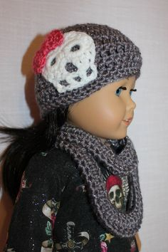 crochet beanie hat with skull crochet doll by magoogesmusedesigns