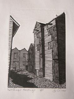 """Net Shops Hastings"" by Di Oliver. www.dioliver.co.uk Tags: Linocut, Cut, Print, Linoleum, Lino, Carving, Block, Woodcut, Helen Elstone, Buildings, Shadows."