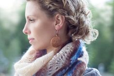 Hand knitted shawl in colors: Blue brown and Cream by DosiakStyle