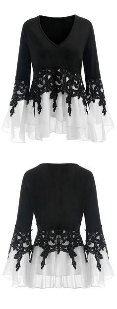 Plus Size Crochet Chiffon Insert Blouse #Gamiss #PlusSize #Tops