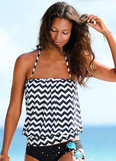 Black & White Zigzag Blouson Tankini Top by LASCANA