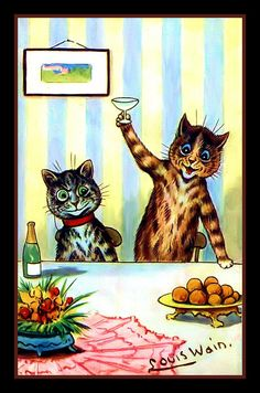 vintage cat art by Louis Wain Crazy Cat Lady, Crazy Cats, Louis Wain Cats, Photo Chat, Here Kitty Kitty, Cat Drawing, Cool Cats, Cat Art, Cats And Kittens