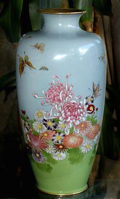 Beautiful Japanese Cloisonne Enamel Vase - Butterflies & Flowers