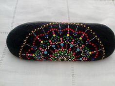 Hand painted Stone Dots Fan Mandala- Meditation- Pebble Colourful Art – Colors…
