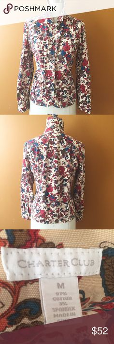 Floral Denim Jacket! Vintage charter club, great condition! Tag reads medium but fit for a large. Measures 40 inches around bust, 24in shoulder to hem, 31 inches from centerback to wrist. Vintage Jackets & Coats Jean Jackets