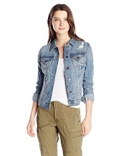 Miss Me Womens Denim Embellished Jacket Medium ** Want to know more, click on the image.