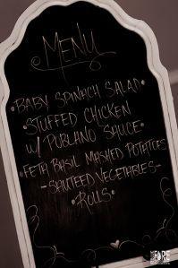 Homemade wedding dinner menu