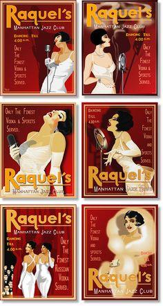 Vintage product, speakeasies, resort, jazz posters