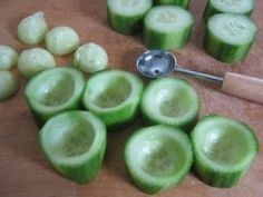 Cucumber cups and balls by Slimwithsly- you could fill the cucumber cups with hummus or chicken salad or anything!