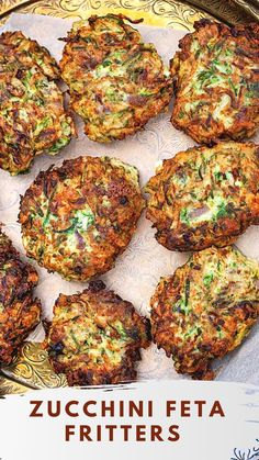 Feta & Zucchini Fritters Veggie Dishes, Vegetable Recipes, Vegetarian Recipes, Cooking Recipes, Healthy Recipes, Side Dishes, Curry Recipes, Vegetable Entrees, Greek Dishes