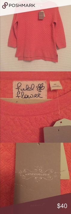 Anthropologie Sweater Brand new with tags! Coral colored 3/4 sleeve sweater from Anthropologie. Field Flower brand. Anthropologie Tops