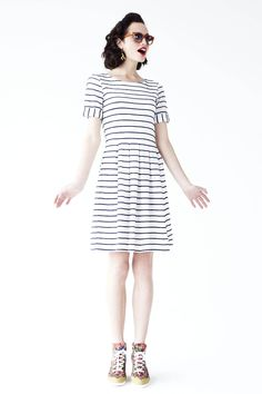 Scalloped Stripes Dress - Anthropologie.com