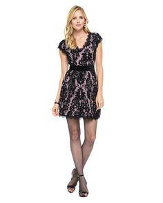Juicy Couture   Soft Quartz - Pitch Black Flocked Lace Dress, Xs