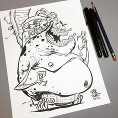 Mojo. Original for sale here http://skottieyoungstore.bigcartel.com #dailysketch…