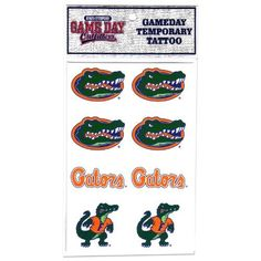 NCAA Florida Gators Tattoo by Game Day Outfitters. $7.83. Show Your Team Pride. Great for Every Fan!. Team Logo and Colors. Officially Licensed NCAA Product. Florida Gators Tattoo