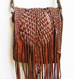 Vintage 1960s Leather Fringe Bag by alchemievintage on Etsy, $72.00