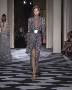 Zuhair Murad Look 26 Gorgeous Embroidered Silver Asymmetric Wrap Evening Maxi Dress / Evening Gown with High Neck, Long Sleeves and Back Cut. Couture Fall Winter Collection Runway by Zuhair Murad Haute Couture Dresses, Haute Couture Fashion, Runway Fashion, Fashion Show, Beautiful Gowns, Elegant Dresses, Designer Dresses, Evening Dresses, Fashion Dresses