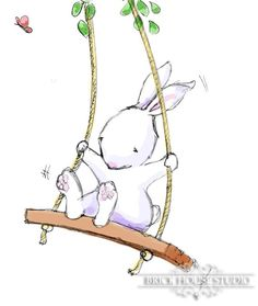 Nursery Wall Art - Bunny on Swing, 5x7 Print