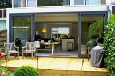 shared by www. Kitchen Diner Extension, Small Sheds, Dream House Interior, House Extensions, Patio Doors, Glass Door, Home Fashion, My Dream Home, Bourbon