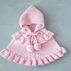 Pink Baby Girl Poncho / Toddler Ruffled Sweater / Alpaca Knit Hooded Cape / Romantic Children Outfit / One Of A Kind / Made To Order