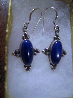 Sterling Silver & Blue Lapis Stone Earrings Pierced Nashville TN Estate Jewelry #unbranded #DropDangle
