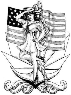 navy pinup girls | Navy Pin Up Girl Greeting Card