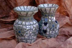 Mosaic vases with vintage china by Donna Avery  Photo by Ron Avery