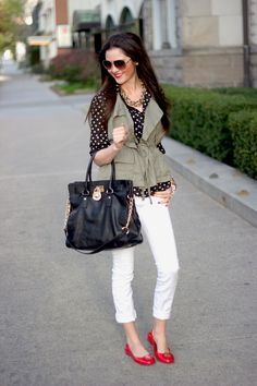 Pink Peonies - military vest, polka dot blouse, white jeans, red