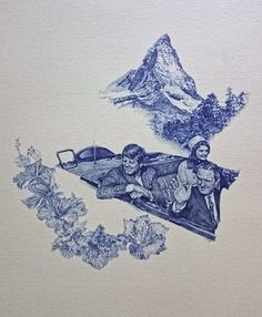 Greg Gilbert - Alpine Scene, in ballpoint pen